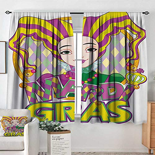 Elliot Dorothy Curtain Panels,Set of 2 Mardi Gras,Carnival Girl in Harlequin Costume and Hat Cartoon Fat Tuesday Theme,Yellow Purple Green,Modern Farmhouse Country Curtains 42