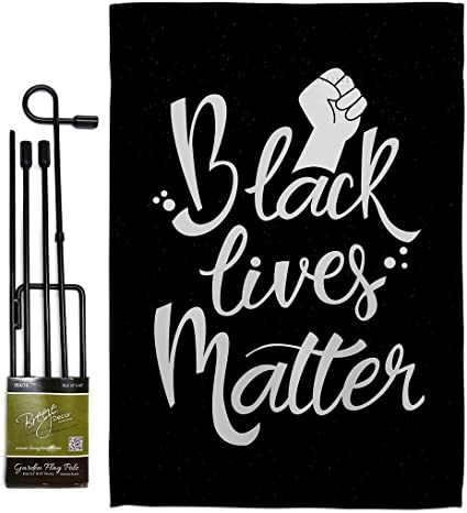 Amazon Com Blm Solidarity Garden Flag Set With Stand Support Cause Anti Racism Revolution Movement Equality Social House Decoration Banner Small Yard Gift Double Sided Made In Usa 13 X 18 5