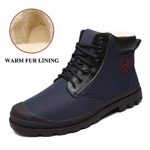 Botas de Nieve de Invierno Hombres Zapatos de Tobillo al Aire Libre a  Prueba de Agua Botines de Piel Caliente Botines para Caminar Bota de  Caminar  ... 7f801283f4572
