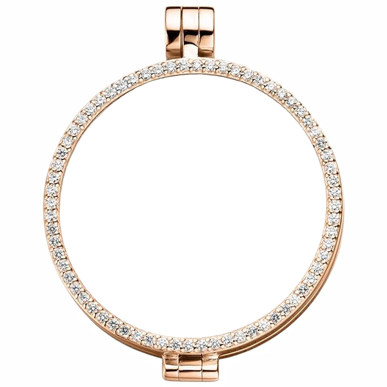 MY iMenso Sphérique Medaillon Silber rosévergoldet mit weißen Zirkonia 33 mm 33-0072