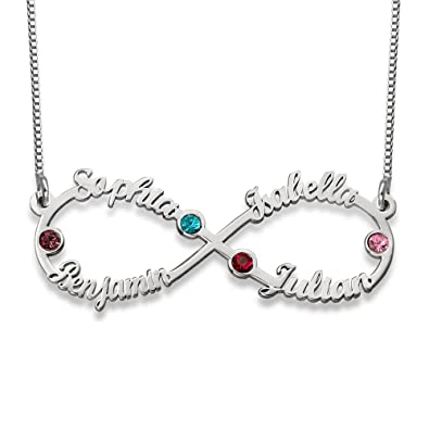 cd864b85f Amazon.com: Infinity Four Name Necklace in Silver with Birthstones -  Personalized: Jewelry