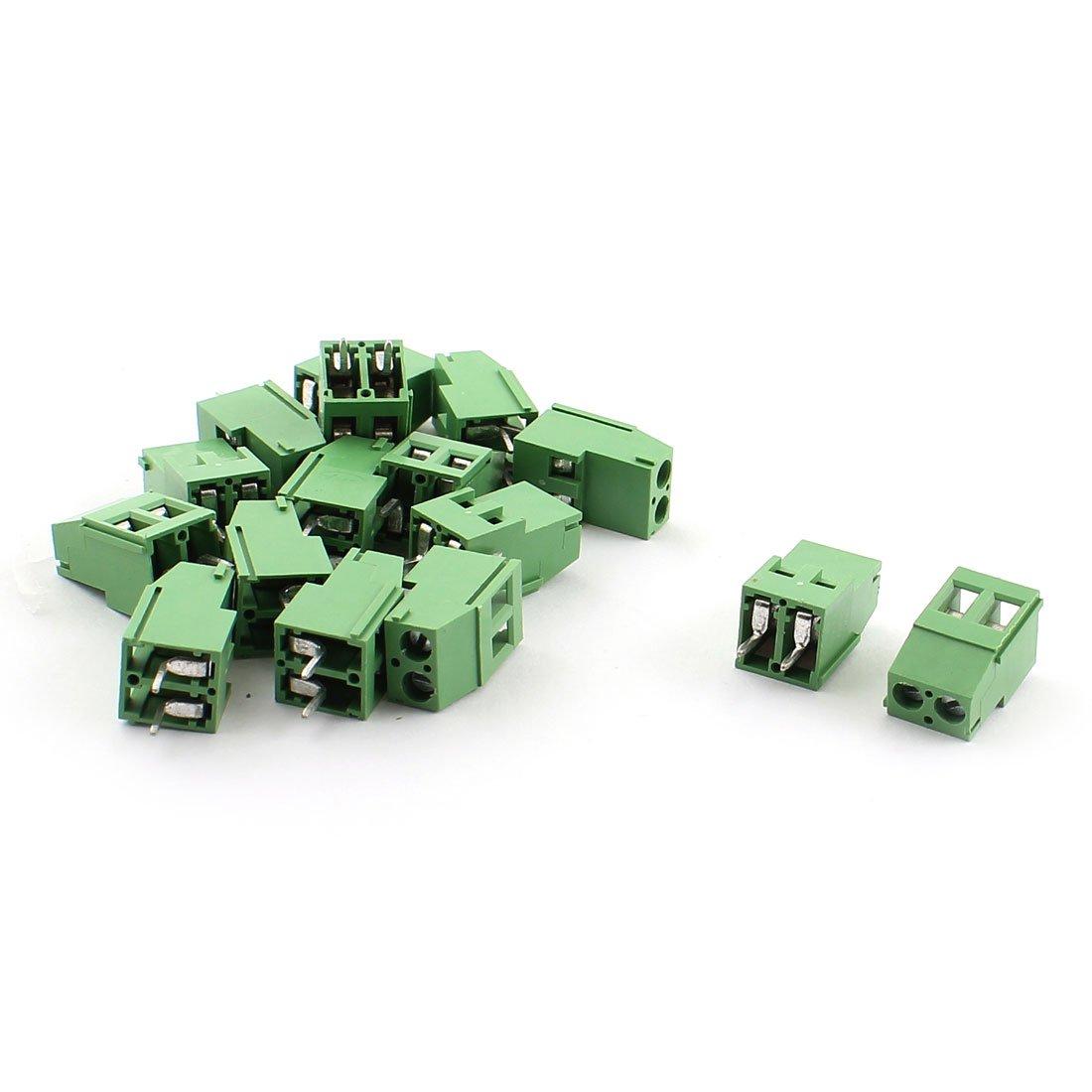 uxcell 15Pcs HG129-5.08 2Pins 5.08mm Screw Terminal Barrier Blocks 300V 20A