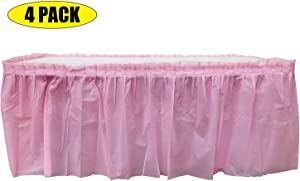 4 Pack Light Pink Table Skirt Carnival, Circus, Birthday, office, party Decorations, Baby Shower, Gender Reveal