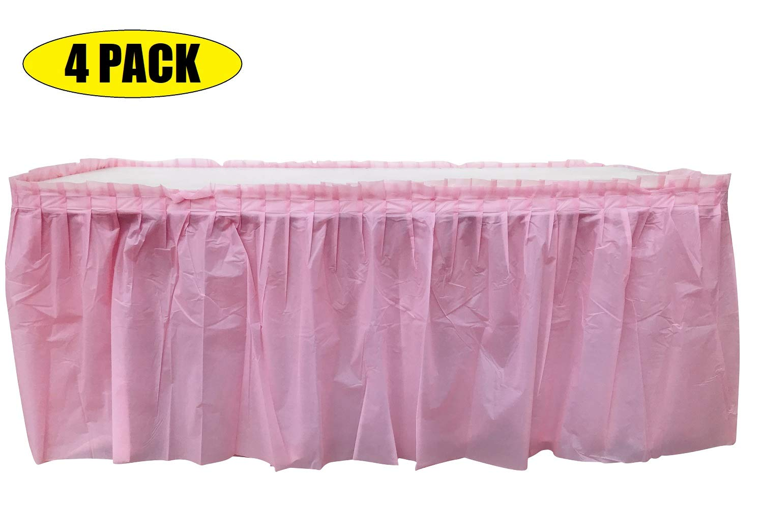 4 Pack Light Pink Table Skirt Carnival, Circus, Birthday, office, party Decorations, Baby Shower, Gender Reveal by Oojami