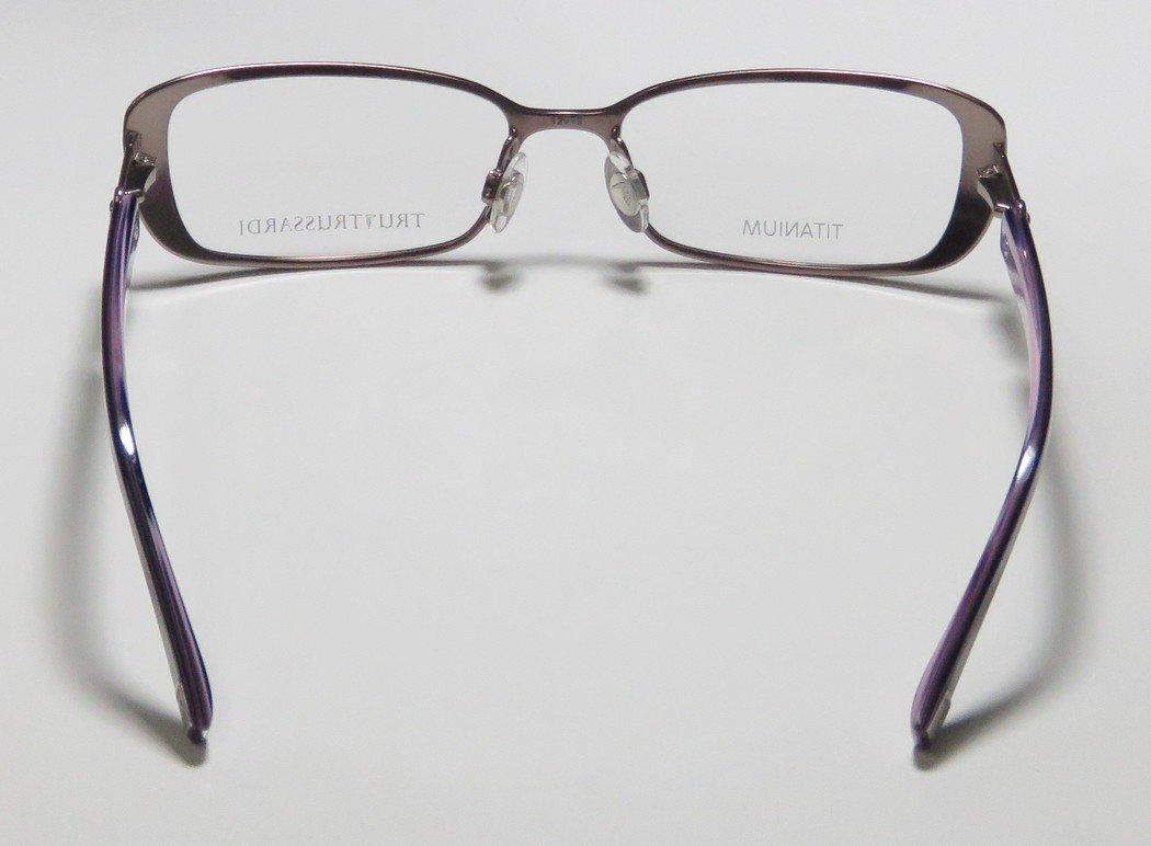 Trussardi 12507 Womens/Ladies Prescription Ready Avant-garde Design Designer Full-rim Titanium Flexible Hinges Eyeglasses/Eye Glasses (53-16-135, Mauve / Violet) by Trussardi (Image #6)