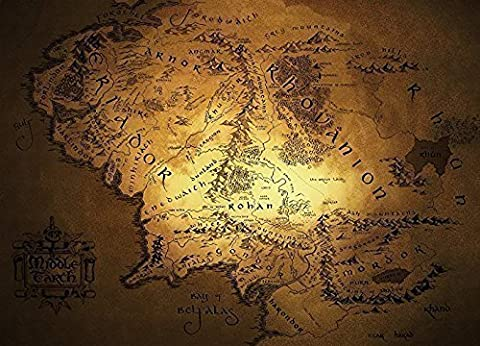 Map Of Middle Earth (Limited Dark or White) Home Decoration Kids Room Earth Map (Size: 36