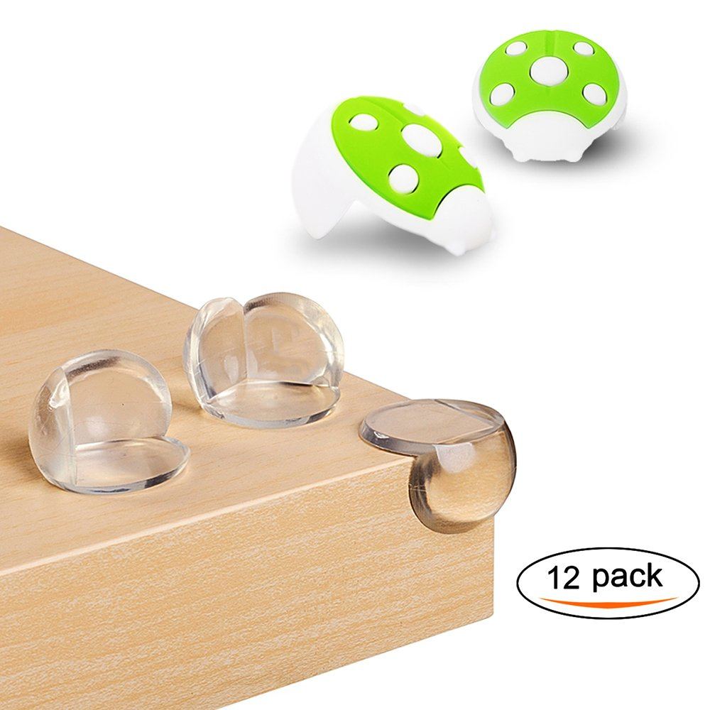 Corner Protectors,Safety Corner Guard(With 2 Pack Silicone Ladybug Angle)Transparent Sharp Corner Guards for Child Kid,Safety Bumpers from Edge Furniture around The House By Erhuida (Green)