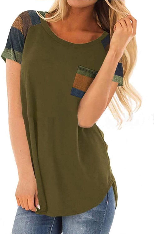 RUIYIGE Womens Causal Curved Hem Short Sleeve Tops Patchwork T-Shirt Tops