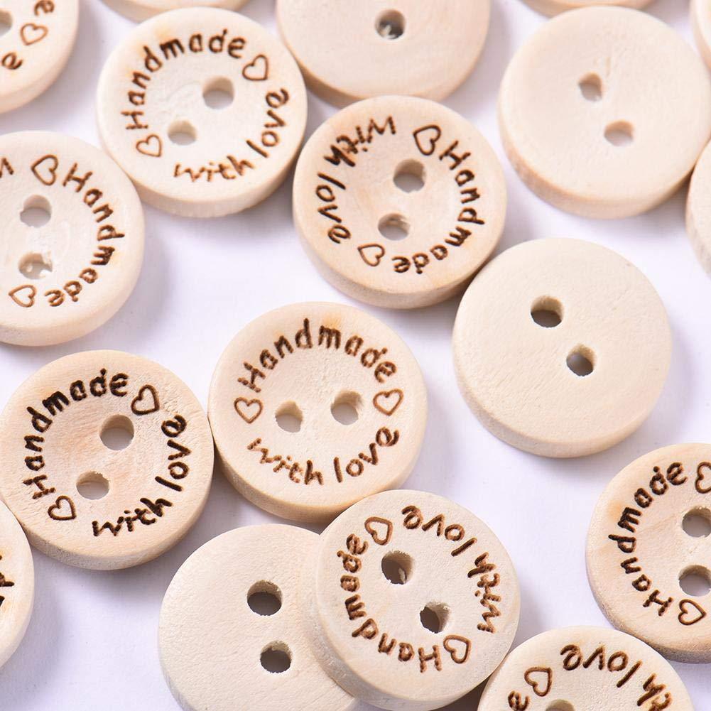 QueenHome 100 PCS Botones Madera Botó n Redondo Grabado con lá ser botó n de Amor Artesaní a DIY