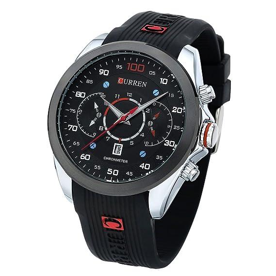 caja del reloj de goma elástica astilla cara de gran tamaño de los hombres negros relojes reloj analógico de diseño coreano para los hombres: Amazon.es: ...