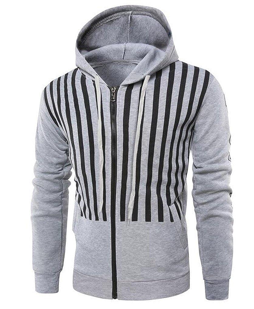 Bstge Mens Long Sleeve Lightweight Zip-up Hoodie Jacket
