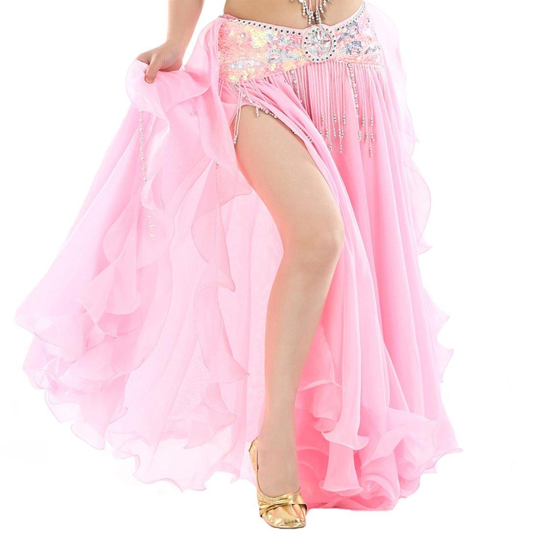 Calcifer Elegant Chiffon Curling Belly Dance Skirt Costume High-Split Dancing Dress For Women Professional Dancer