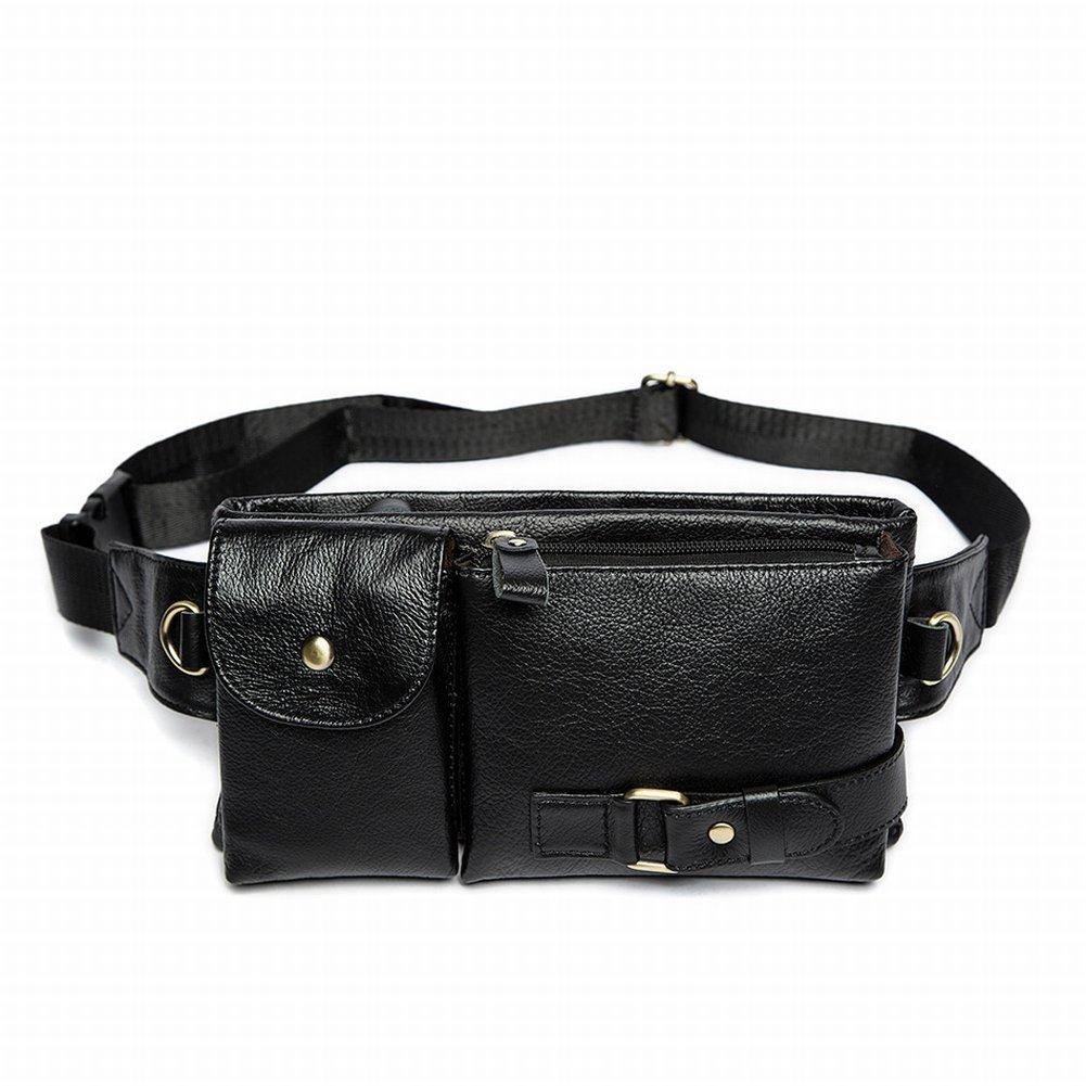 Die Erste Taille Taschen Retro Leder Männer Messenger Bag Handytasche , schwarz