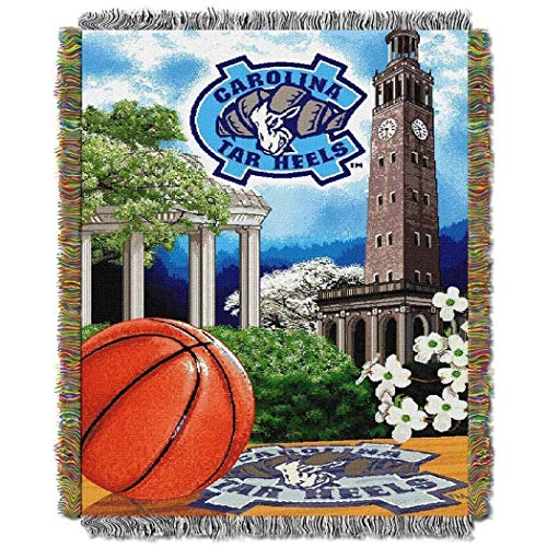 N-A 1 Piece 48 x 60 NCAA Tar Heels Throw Blanket, Blue White College Theme Bedding Sports Patterned Collegiate Football Team Logo Fan Merchandise Athletic Team Spirit Fan Tapestry Fringes, Polyester