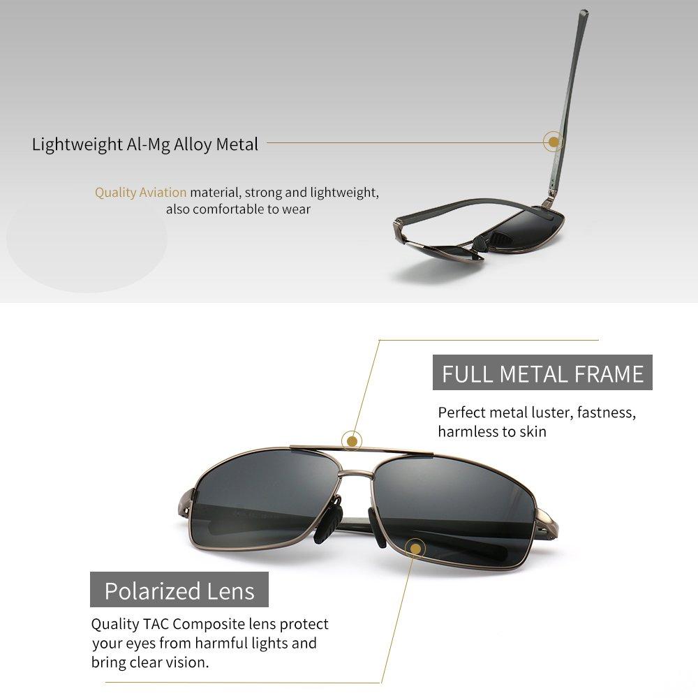 3c26dd3266 Amazon.com  SUNGAIT Ultra Lightweight Rectangular Polarized Sunglasses 100%  UV protection (Gunmetal Frame Gray Lens