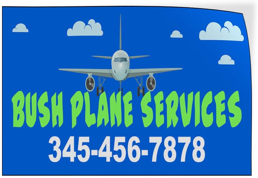 Custom Door Decals Vinyl Stickers Multiple Sizes Bush Plane Services Phone Number Blue Business Bush Plane Services Outdoor Luggage /& Bumper Stickers for Cars Blue 24X16Inches Set of 10