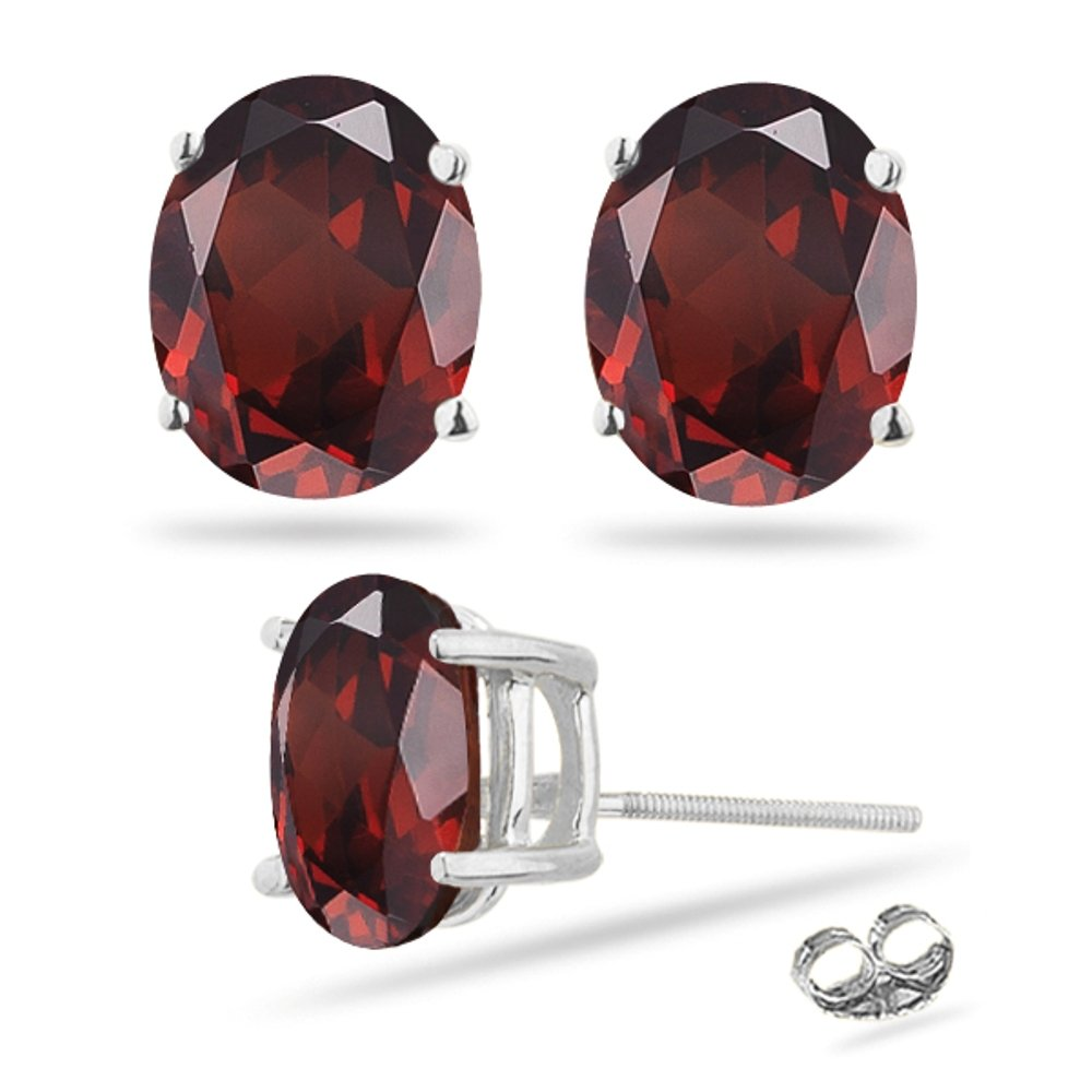 4.30-4.70 Ct Garnet Stud Earrings in 14K White Gold