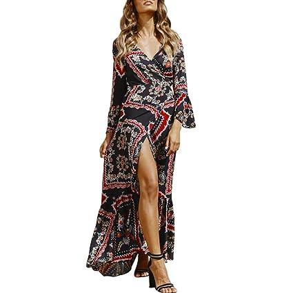 Vestidos Mujer Verano 2018,Bohemio de las mujeres de estampado floral Honda vestido largo sin