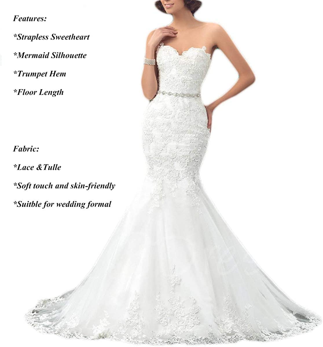 Oyisha Womens Formal Strapless Sweetheart Mermaid Wedding Dress Lace Bridal Dresses Long 2019 Wd162 At Amazon Women S Clothing Store
