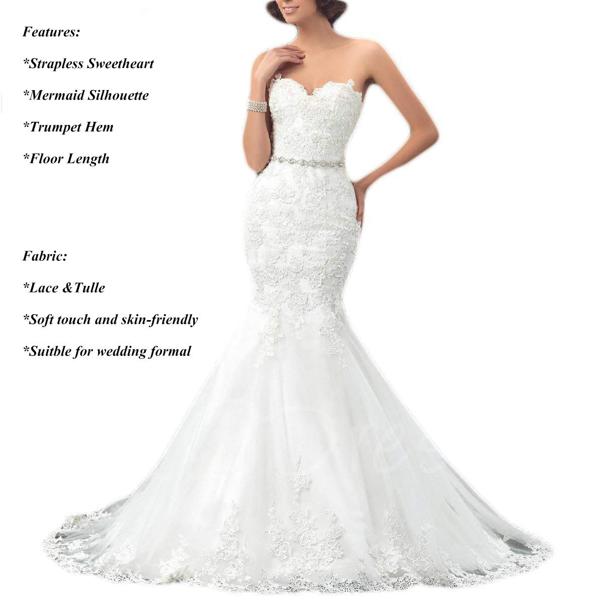 cea9342ca6c OYISHA Womens Formal Strapless Sweetheart Mermaid Wedding Dress Lace Bridal  Dresses Long 2019 WD162 at Amazon Women s Clothing store