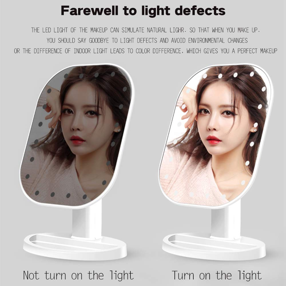 AIC2018 AIC Makeup Mirror 20 LED Lighted Vanity Mirror with Detachable 10X Magnifying Spot Mirror Powered by Micro USB chargeable or 4 AA batteries white Dimmable Touch Sensor Switch