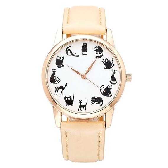jsdde Relojes, Fashion Cute Dibujos Animados Gato Gatos Reloj de Pulsera Cuero PU Banda Reloj Mujer Rose Oro analógico de Cuarzo Reloj, Color Beige: ...