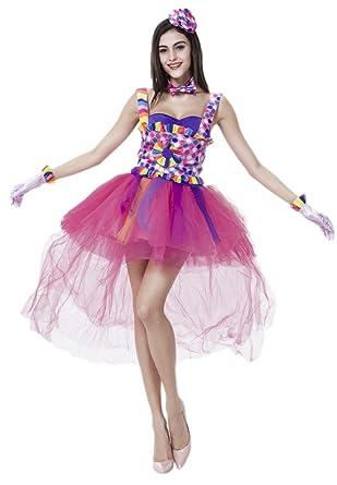 Bigood Falda de Baile Forma de Payaso Sin Mangas con Pretina y ...
