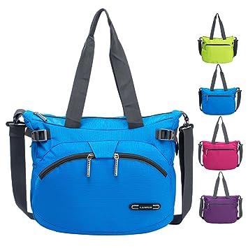 0360049a4137c RLANDTO Leichte Crossbody Umhängetasche wasserdichte Nylon Gym Handtaschen  Casual Umhängetasche für Frauen (Blau)