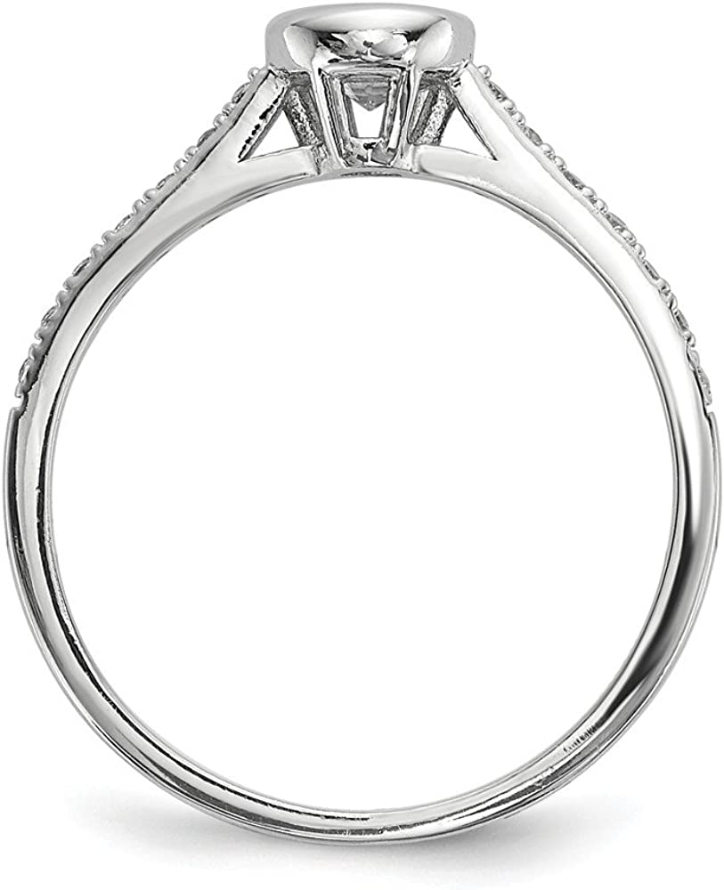 Sterling Silver Fashion Ring Open Back Flat Polished Silver Rhodium 1.75 mm CZ 3-Ring Set