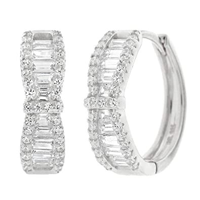 004b6dafb Amazon.com: .925 Sterling Silver Womens Cubic Zirconia CZ Round Bow-Tie  Baguette Clear Micro Pave Small Round Huggie Hoop Earrings (White): Jewelry