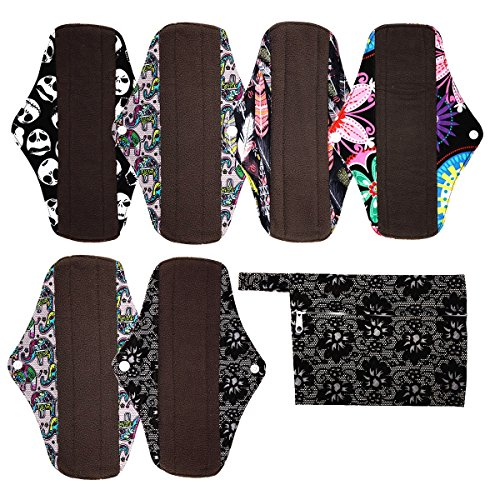 7pcs Set 1pc Mini Wet Bag +6pcs 10 Inch Regular Charcoal Bamboo Mama Cloth/ Menstrual Pads/ Reusable Sanitary Pads (Black)