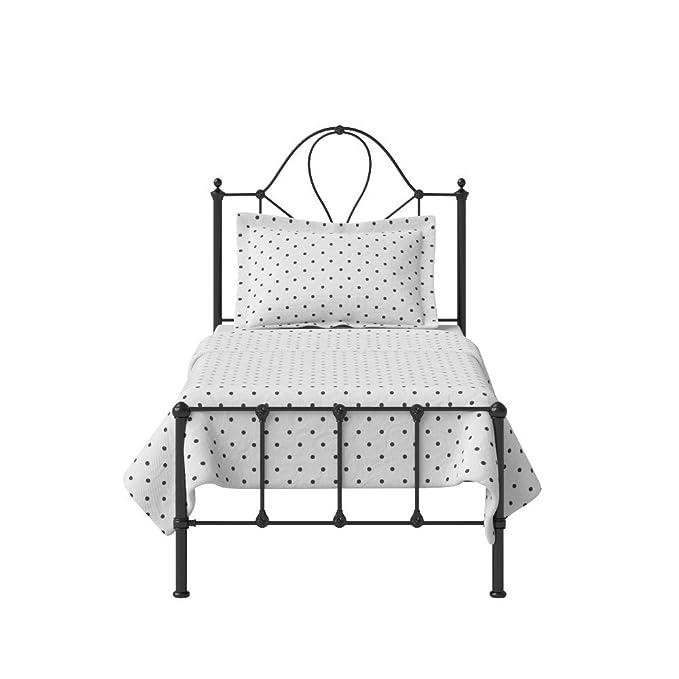 The Original Bed Co. Cama de Metal Athena Marco de Cama de Hierro con Listones de Madera Maciza 90 x 190 cm Satén Negro: Amazon.es: Hogar