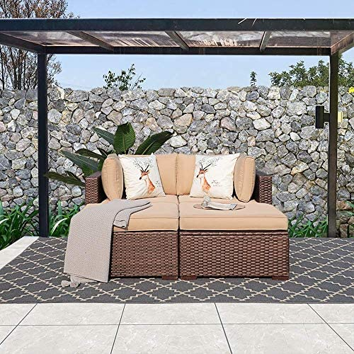 Patiorama 4 Piece Patio Sectional Sofa, All Weather Wicker Patio Furniture Sofa Bed Set with Loveseat Sofa Ottoman, Beige