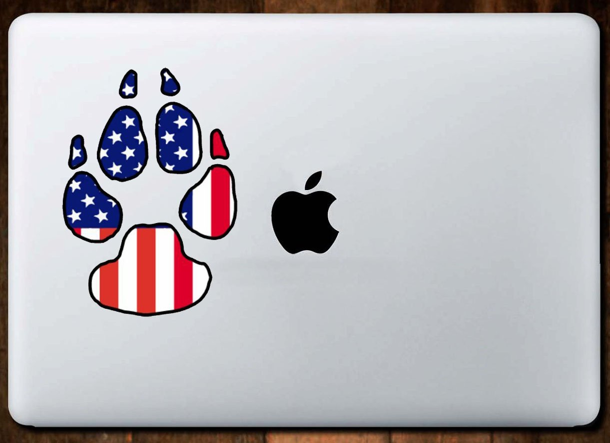 Perfect Dog Owner Gift WickedGoodz American Flag Dog Paw Vinyl Decal Patriotic Bumper Sticker