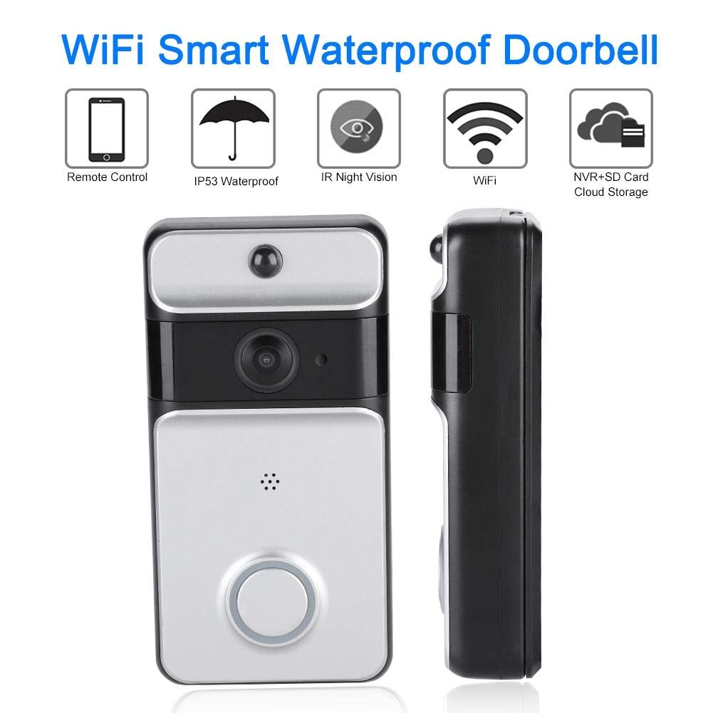 Video Doorbell,720P HD WIFI Battery Powered Smart Security Home Camera with 166/°Wide Angle,Two-Way Talk,PIR Motion Detection,Real-Time Video,Night Vision,APP Control for IOS Android