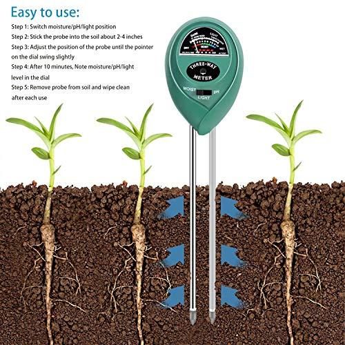 MEYUEWAL 3-in-1 Soil Test Kit for Moisture, Light & pH, Soil PH Tester Pro, for Garden,Farm,Plants, Lawn, Indoor/Outdoors Plant Care Soil Tester (No Battery Needed) by MEYUEWAL (Image #1)