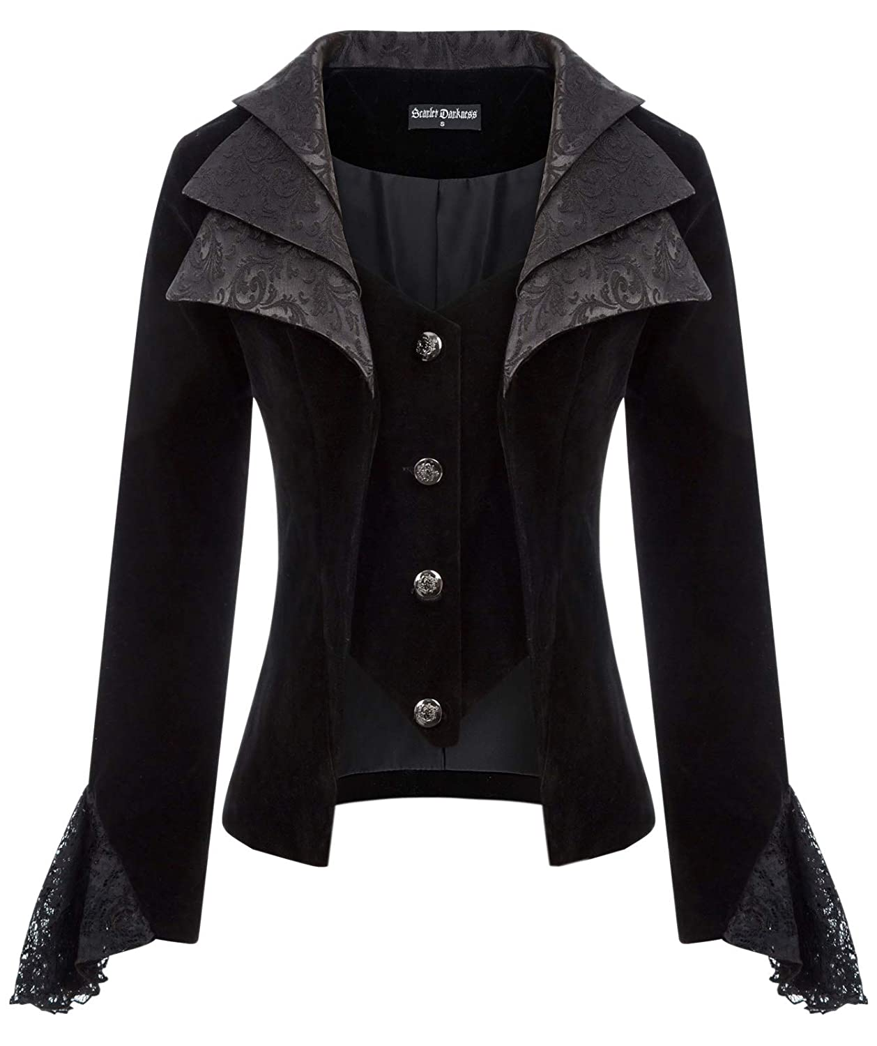 Steampunk Tops | Blouses, Shirts Womens Gothic Vampire Jacket Lapel Collar Coat Steampunk Long Sleeve Costume Top $37.99 AT vintagedancer.com