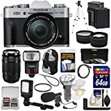 Fujifilm X-T20 Wi-Fi Digital Camera & 16-50mm XC (Silver) with 50-230mm Lens + Hand Grip + 64GB + Battery + Backpack + Flash + LED + Mic + Tripod + 2 Lens Kit