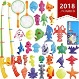 ECLifeHack Magnetic Fishing Toys Game Set for Kids for Bath Time Pool Party with Pole Rod Net, Plastic Floating Fish - Toddler Education Teaching and Learning Colors Ocean Sea Animals