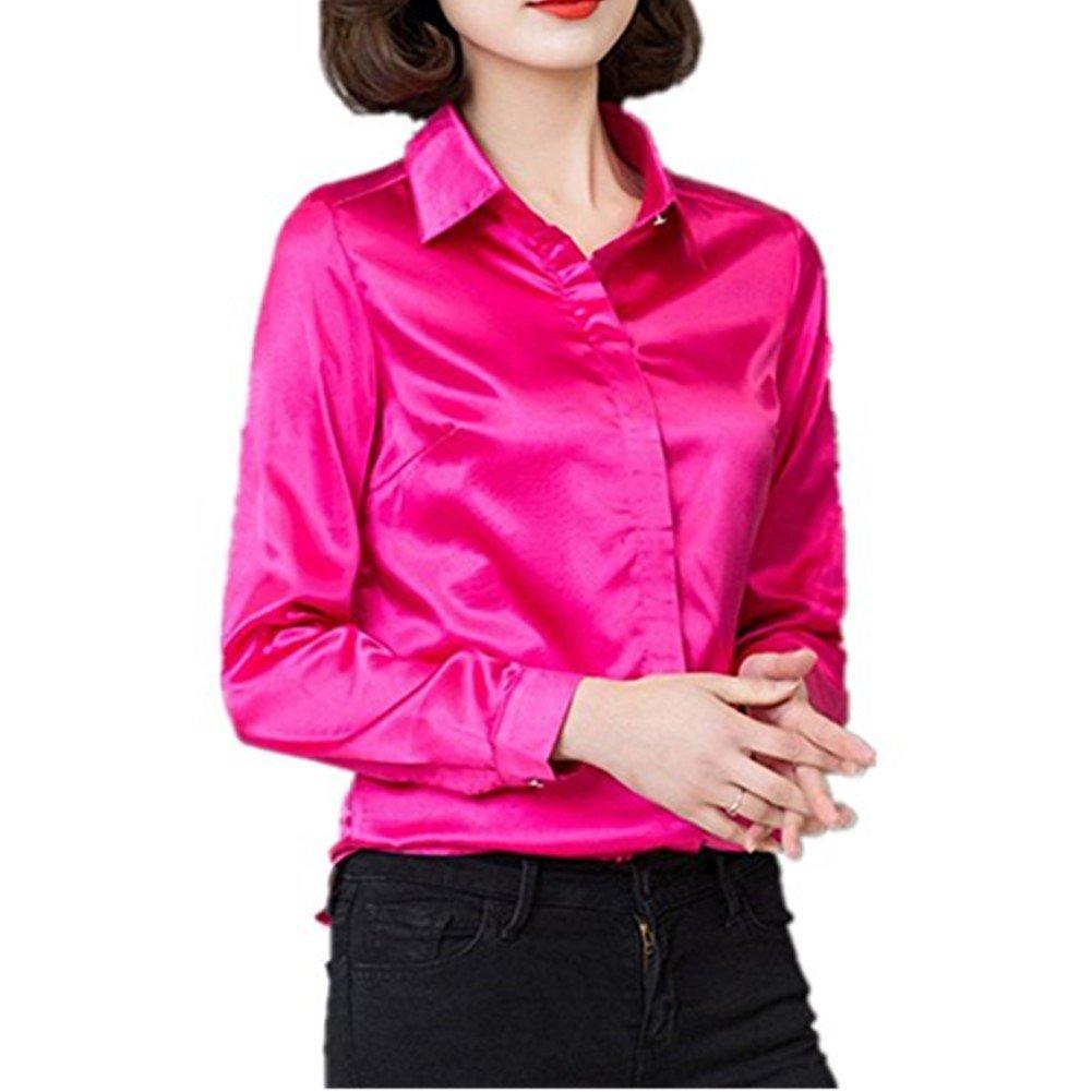 YOUMU Blusa de Seda Satinada de Manga Larga con Botones para Trabajo Formal