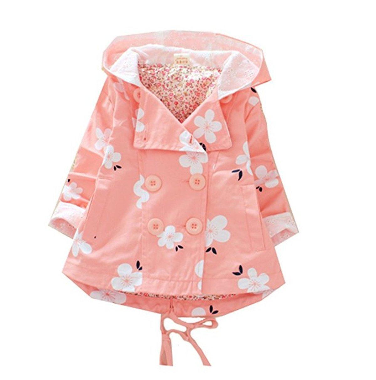 Baby Kid Little Girls Spring Fall Polka Flowers Hoodie Wind Proof Jacket Coat Outerwear