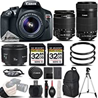 Canon EOS Rebel T6 Camera + Canon EF-S 18-55mm f/3.5-5.6 IS II Lens + Canon EF-S 55-250mm f/4-5.6 IS STM Lens + Canon EF 50mm f 1.8 II Lens - All Original Accessories Included - International Version