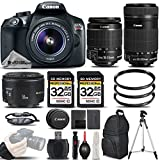 Cheap Canon EOS Rebel T6 Camera + Canon EF-S 18-55mm f/3.5-5.6 IS II Lens + Canon EF-S 55-250mm f/4-5.6 IS STM Lens + Canon EF 50mm f 1.8 II Lens – All Original Accessories Included – International Version