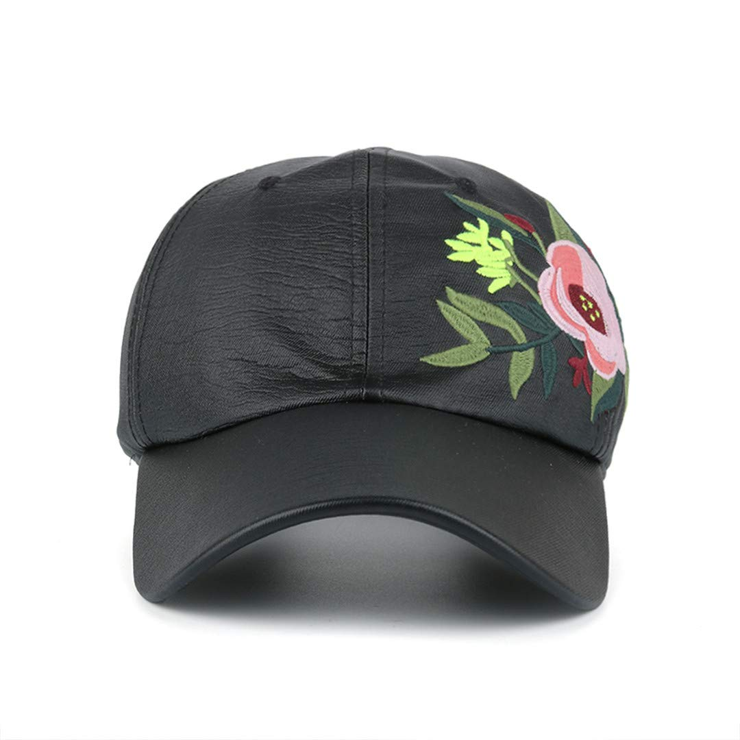 BAIELFES Women Baseball Cap with Flower Embroidery Adjustable Leisure Pu Snapback Hat