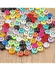 ZesNice Smiley Kralen, 200 Stuks Schattig Blij Gezicht Kralen voor het Maken van Armbanden, Kleurrijke Kralen met 7M Elastische Draad