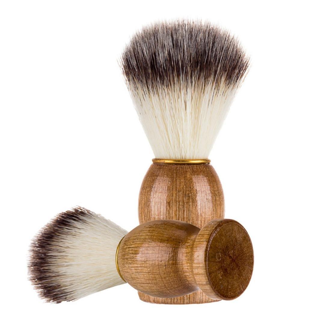 BBsmile Hombres que afeitan el cepillo del oso El mejor pelo del tejón afeita la manija de madera Razor Barber Tool