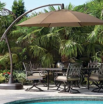 This Cantilever Patio Umbrella Has A Sunbrella Canopy And Sturdy