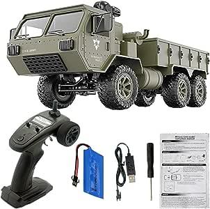 YOUNG4 - Mando a Distancia para Camiones y ejércitos, para niños, 1/16 RC Military Truck 6wd, Mando a Distancia: Amazon.es: Jardín
