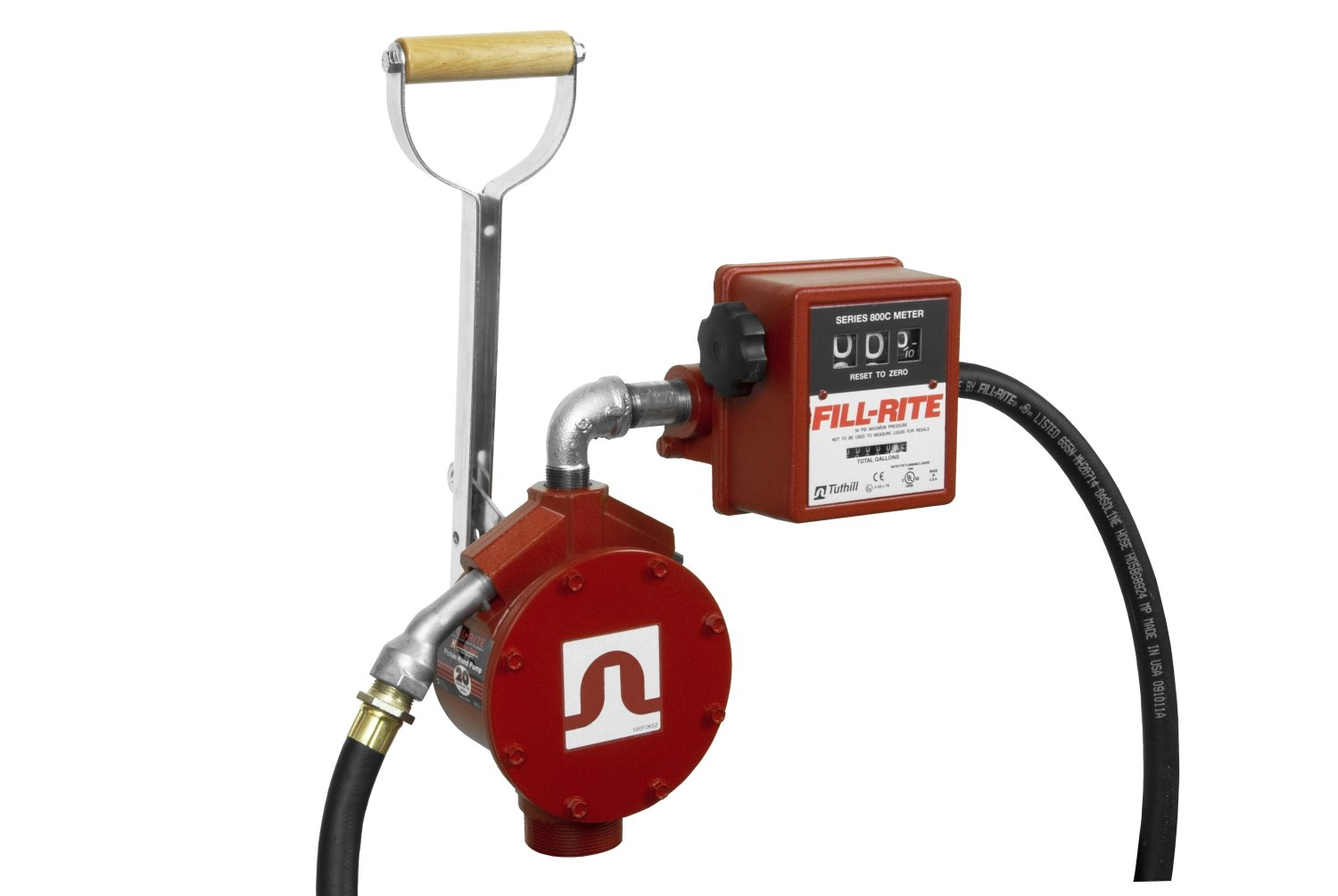 Fill-Rite FR156 Piston Hand Pump with Meter, Suction Pipe, Discharge Hose, and Nozzle Spout