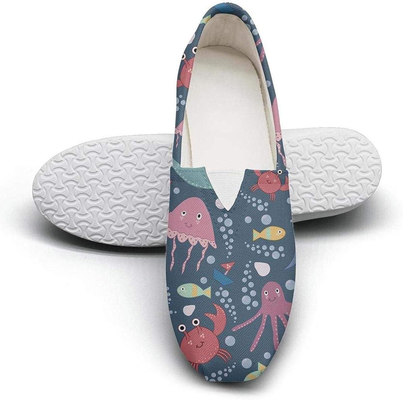 Blue Great Shark Classic Slip-ONS Women's Extra Light Flat Boat Shoes Girls Espadrille Flats
